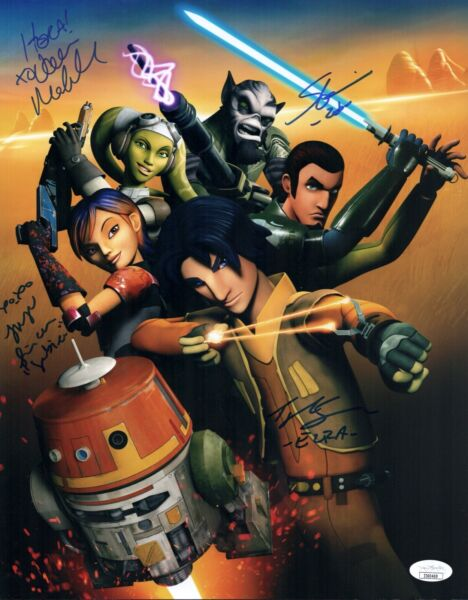 Taylor Gray STAR WARS REBELS CAST X4 Signed 11X14 PHOTO Autograph JSA COA Cert
