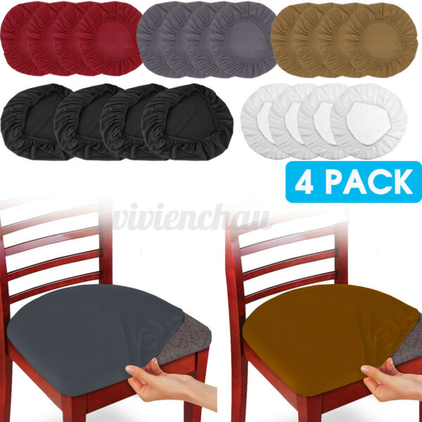 4 8Pcs Removable Elastic Stretch Slipcovers Dining Spandex Chair Seat Cover $13.27