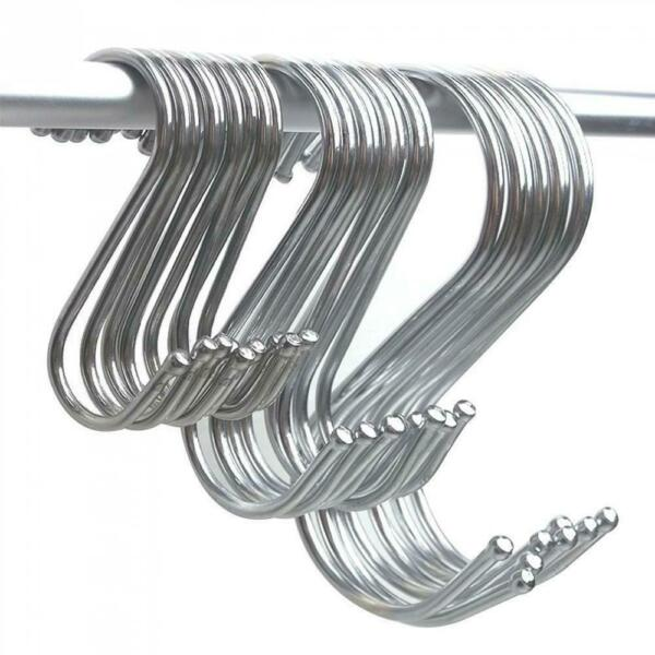 10xNew S Shaped Hooks For Hanging Large Stainless Steel Hook Kitchen Housekeeper