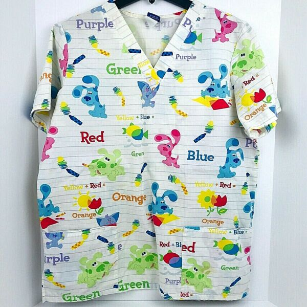 Nick JR Blues Clues Size L Scrub Top Dogs Multi Color Medical Nurse Large $17.58