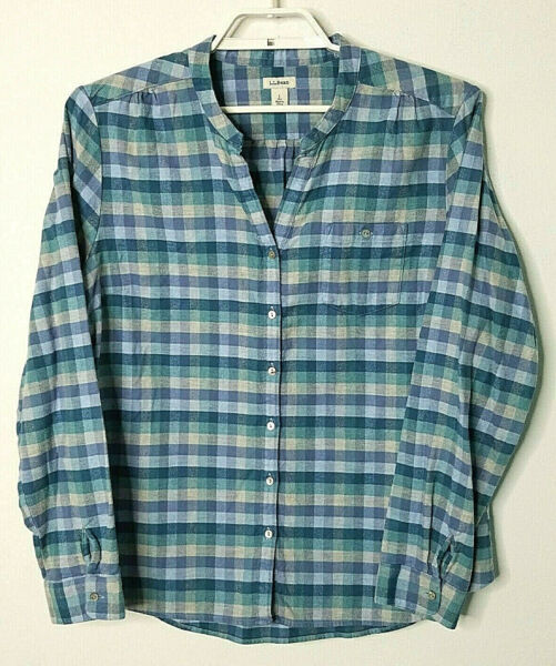 L.L.Bean Womens Flannel Top Large Long Sleeve Blue Plaid No Collar Button Down $19.99