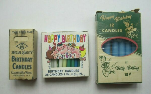3 Vintage Boxes Vintage Birthday Candles Columbia amp; Betty Bolling Empty Partial