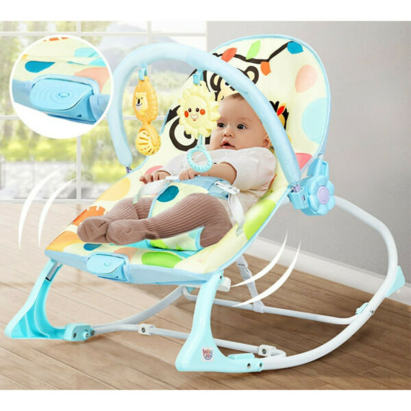Baby Bouncer Bed Massager Rocking Chair With Toys Adjustable Foldable Portable $40.99