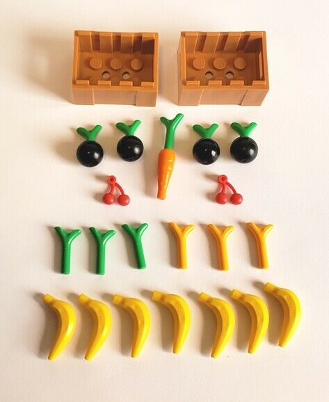 LEGO City 2 Produce Crates lot w Bananas Cherries Carrot Green Stems amp; More