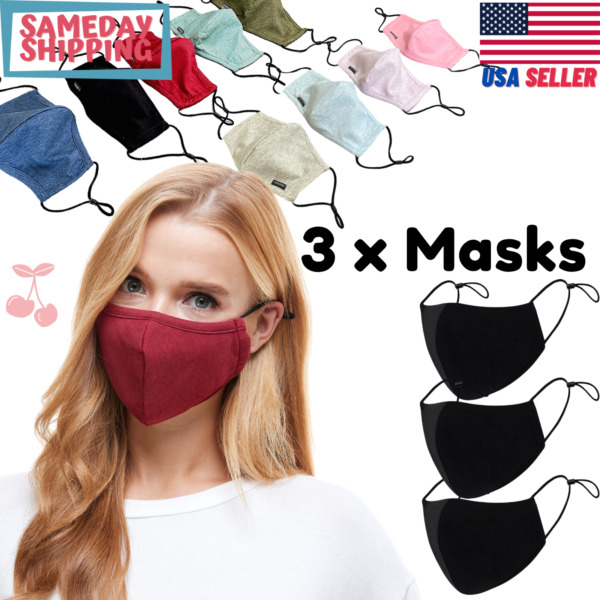 3 Pcs Adjustable Cotton Face Mask Triple Layer Reusable Washable Ships from USA