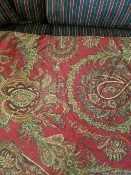 Pottery Barn Red Green Paisley Duvet Cover King Bedspread $52.00