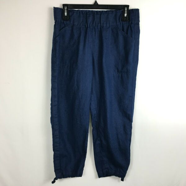 J. JILL Linen Stretch Crop Pants Navy Blue Side Zip Women's Size Petite Small $24.99