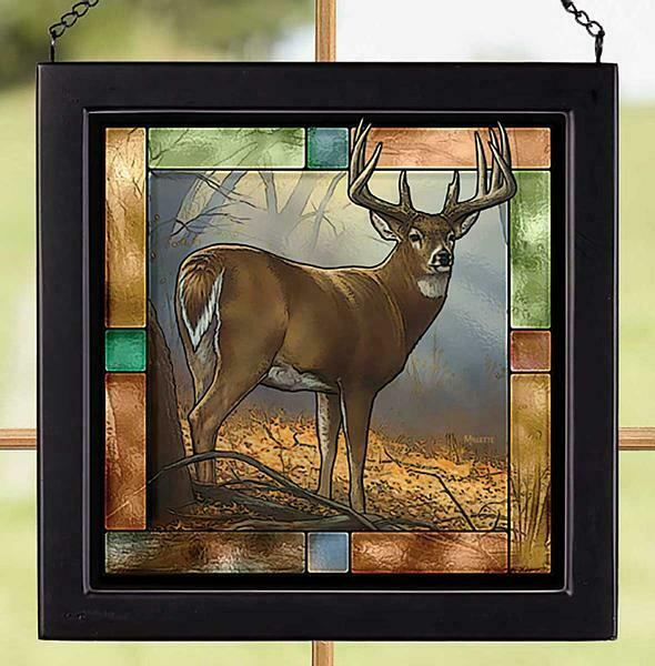 In Prime Whitetail Deer Stained Glass Art by Rosemary Millette