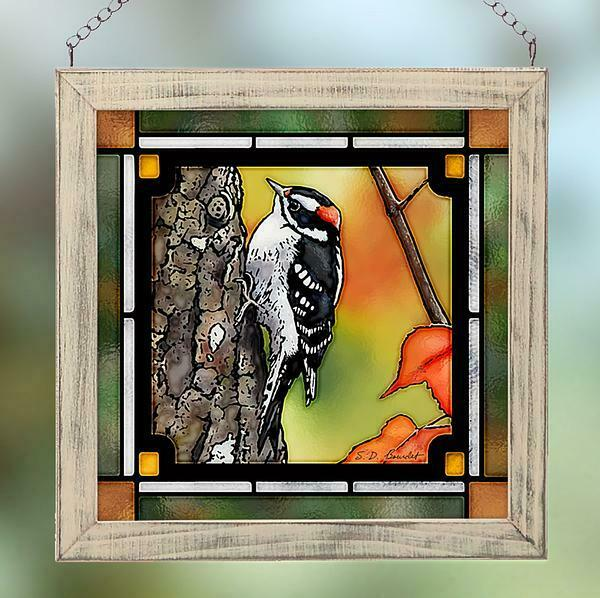 Downy Woodpecker Stained Glass Art by Susan Bourdet