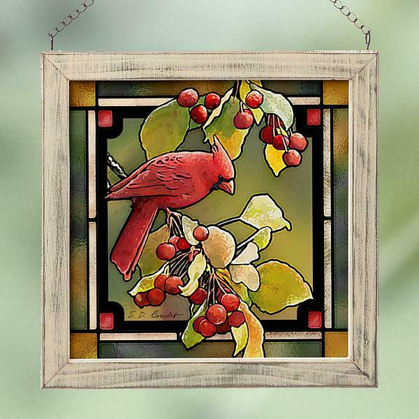 Cardinal amp; Crabapples Stained Glass Art by Susan Bourdet