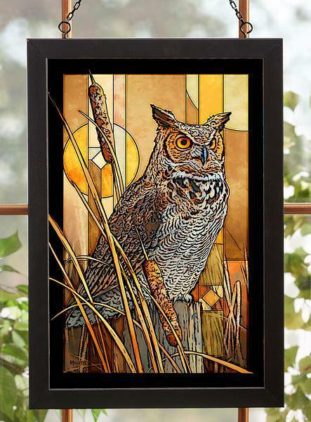 Great Horned Owl Stained Glass Art by Rosemary Millette