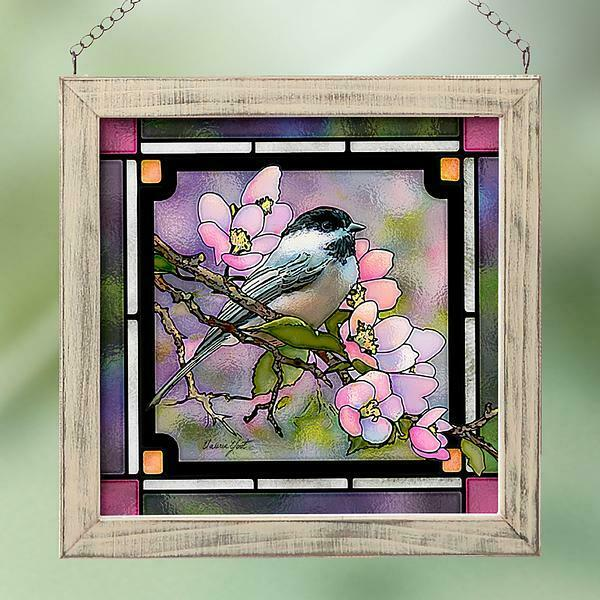 Chickadee Stained Glass Art by Valeria Yost