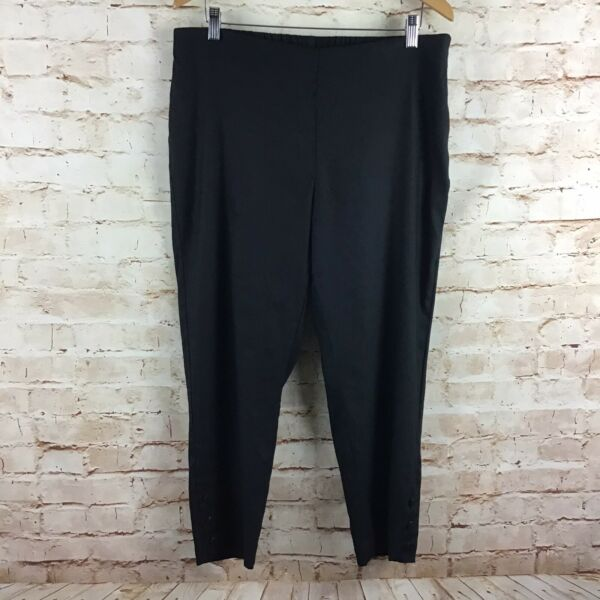 J Jill Womens Linen Stretch Black Cropped Capri Pants Size Large $39.99