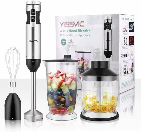 New YISSVIC Hand Blender 1000W 700ml Immersion Blender 9 Speed Control $41.99