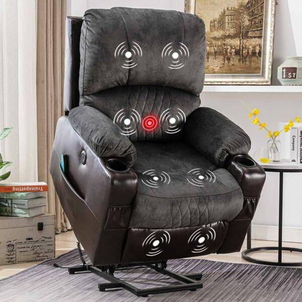 Power Lift Recliner Chair For Elderly Overstuffed Fabric Living Room Sofa W RC
