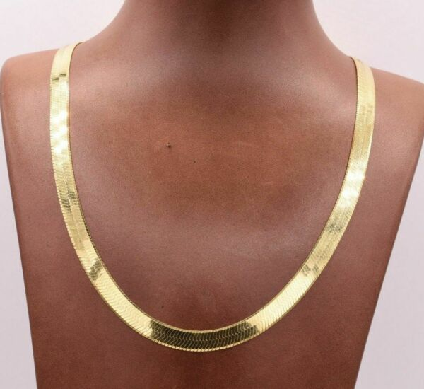 7mm Flexible Herringbone Chain Necklace Solid 14K Yellow Gold Clad Silver 925 $99.99
