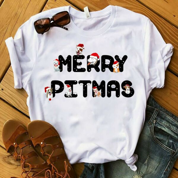 Christmas t shirt funny dogs White t shirt quot;Merry Pitmasquot; $15.30