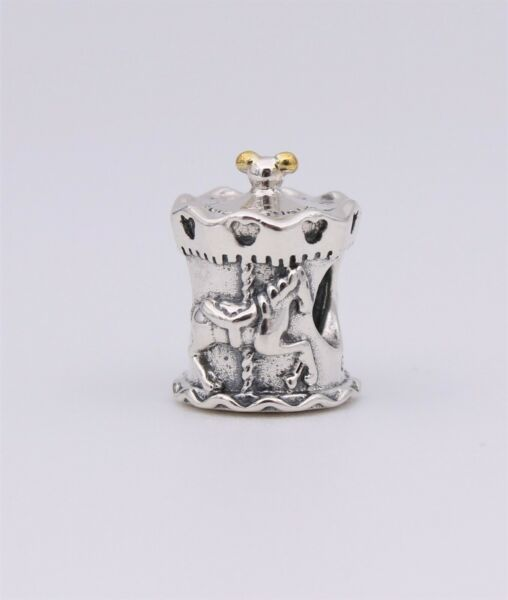 New Authentic PANDORA Silver with 14k Disney Parks Carousel Horse Charm #792125