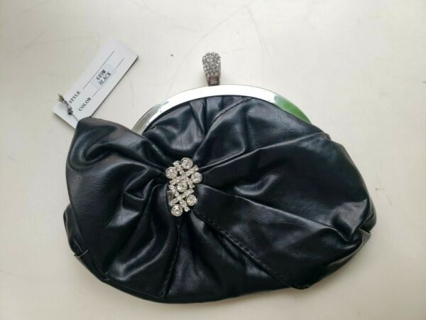 New Bella Collection Black amp; Rhinestone Clutch Handbag Purse