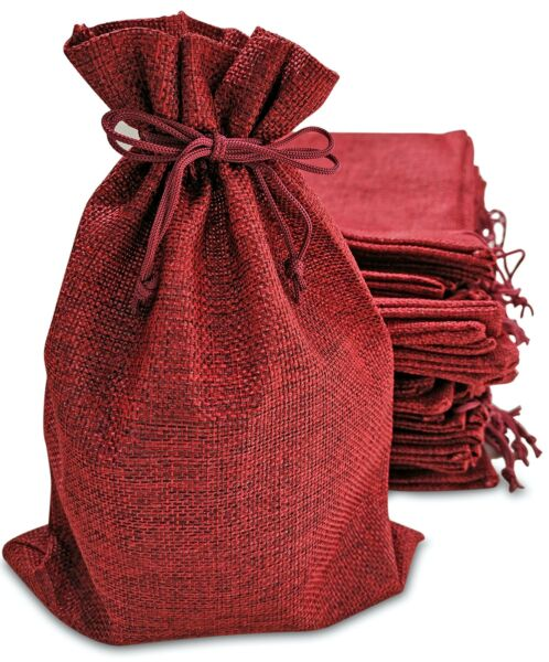 50 Small Burlap Bags with Drawstring 4x6 Inch Red