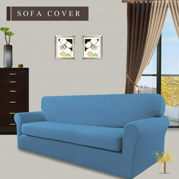 Easy Going Stretch Sofa Slipcover 2 Piece Couch Cover Furniture Protector BLUE $29.98