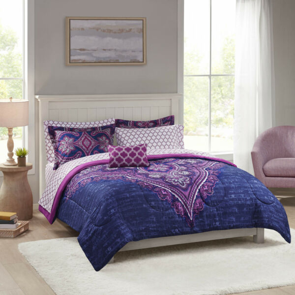 Mainstays Grace Medallion Purple Bed in a Bag Complete Bedding Queen $65.85