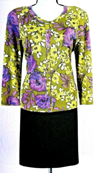 ST.JOHN Women 3Pc. Knit Green Purple Flowers Shimmer Jacket Top Skirt Sz 12