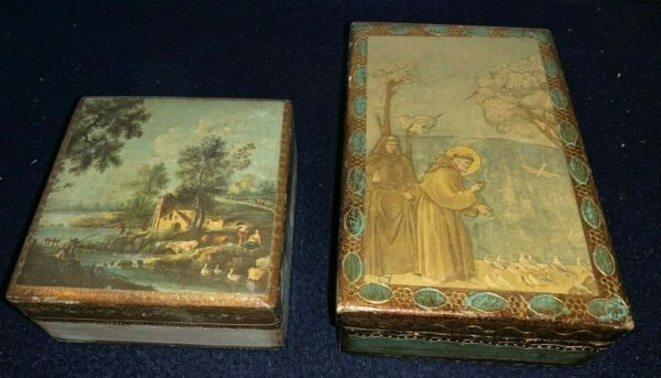 Group of 2 Florentine Style Wooden Boxes from Italy