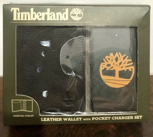 Timberland Leather Wallet with Pocket Charger Black Christmas Present Gift $45.00