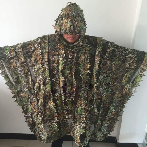 Leafy Poncho Jungle Ghillie Suits Camouflage Hunting Tactical 3D Bionic Leaf