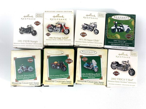 LOT of 8 HARLEY DAVIDSON Motorcycle HALLMARK Keepsake Die Cast X Mas Ornaments