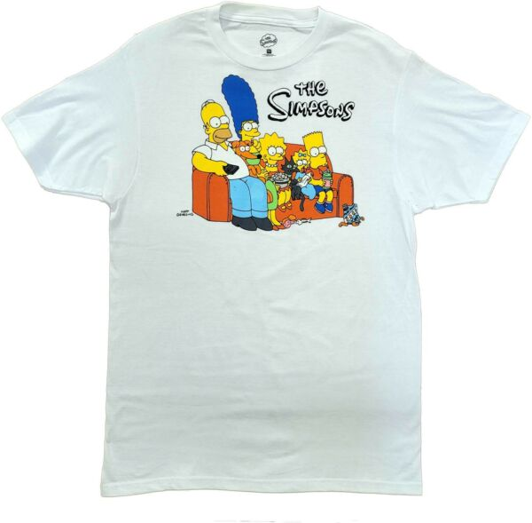 Men#x27;s The Simpsons White Family Couch Retro Vintage Cartoon T Shirt New Tee