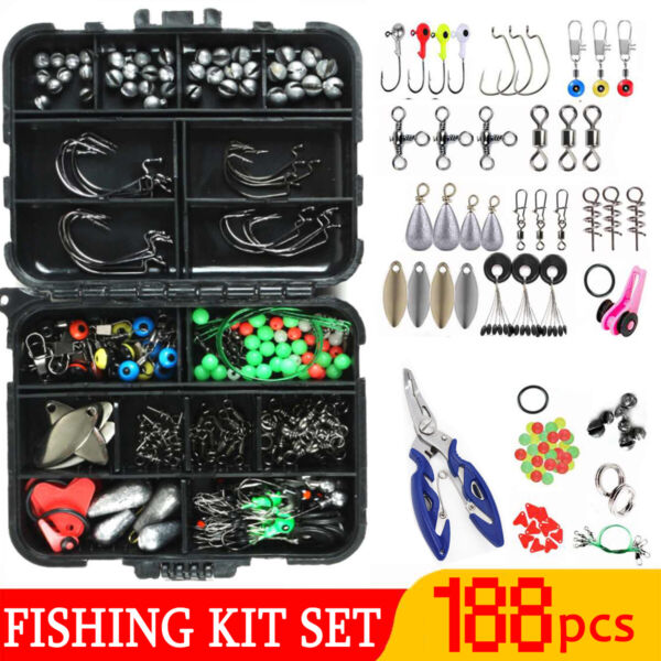 【188PCS】Fishing Accessories Kit set with Tackle Box Pliers Jig Hooks Swivels