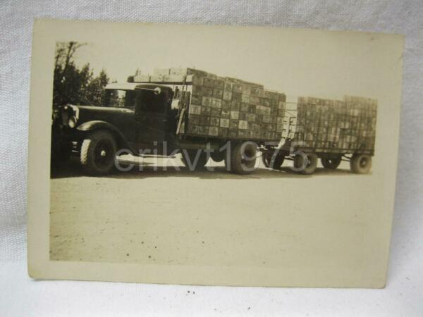 Trucking Hauling Produce Crates Advertising Box Old History Vtg Antique Truck