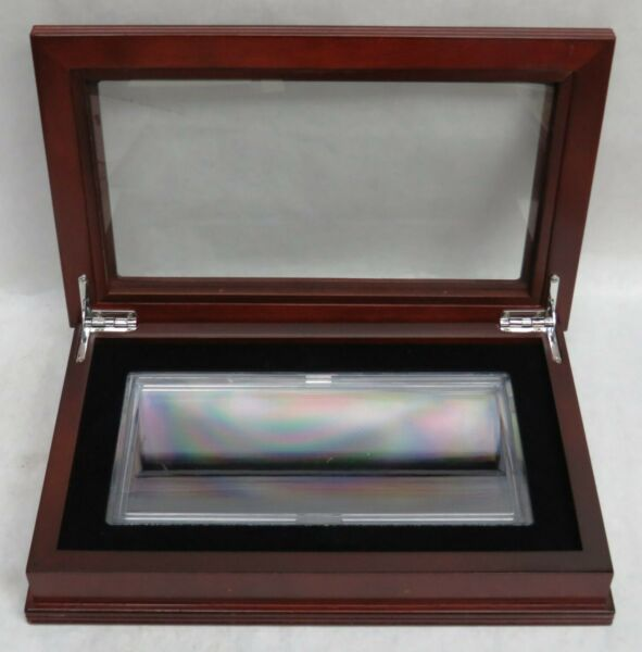 LARGE SIZE CURRENCY NOTE WOOD amp; GLASS DISPLAY BOX WITH PLASTIC SNAP HOLDER $39.00