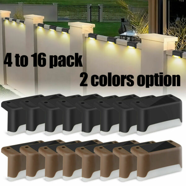 4 16Pcs Solar LED Bright Deck Lights Outdoor Garden Patio Railing Path Lighting