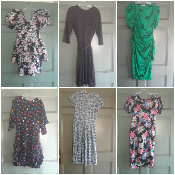 12 vintage dresses 1980 lot medium size