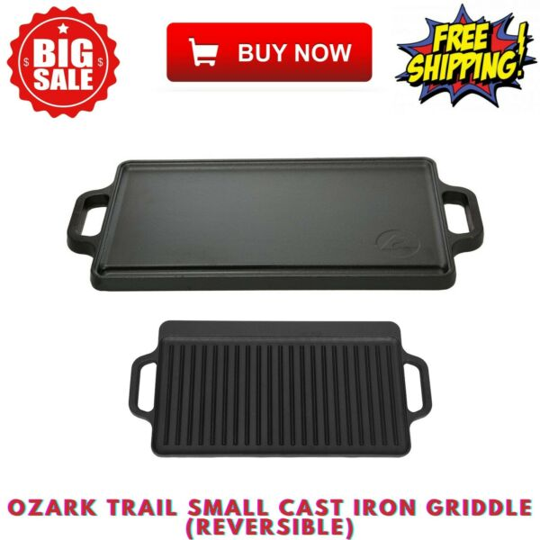Ozark Trail Non Stick Black Camping Outdoor Small Cast Iron Griddle Reversible