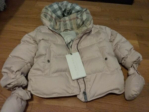 Burberry down puffer baby toddler jacket coat in powder pink with vintage plaid $189.00