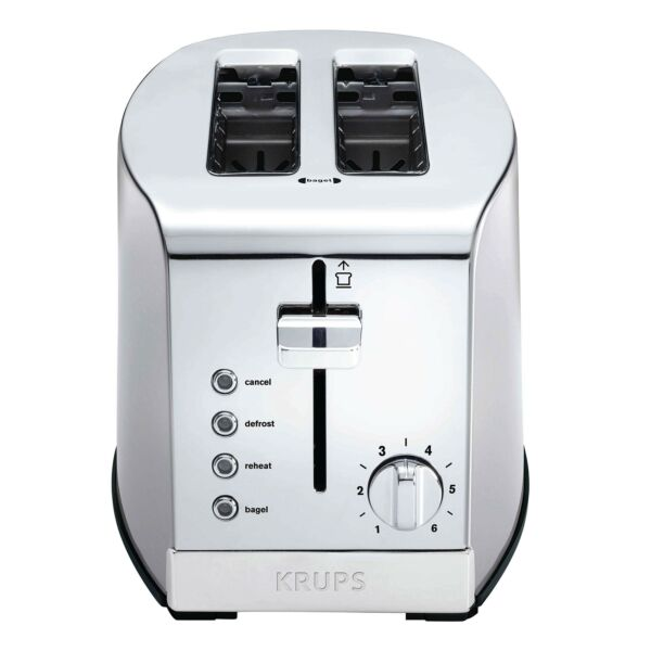 KRUPS KH732D50 2 Slice Toaster Stainless Steel Toaster 5 Functions with Can...