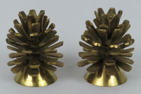 Vintage Brass Pinecone Candle Holders * Set of 2 * 4quot; * Solid Brass * Excellent