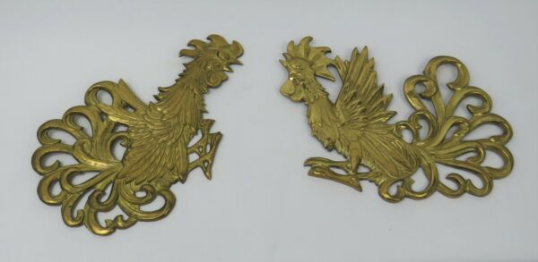 Vintage Brass Roosters Japan Wall Art * Set of 2 amp; Solid Brass * 9quot; * Excellent