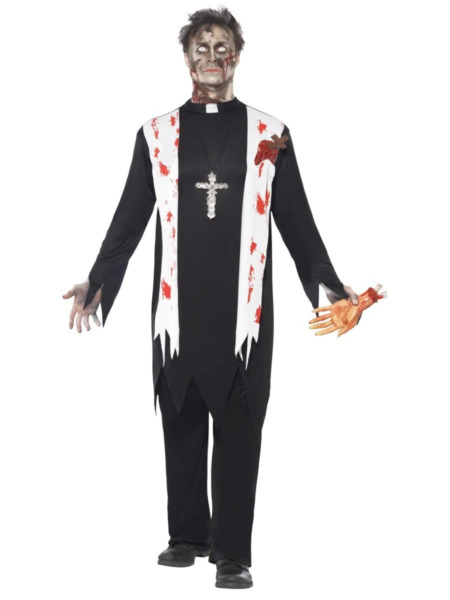 Zombie Priest Blooded Black Shirt And Trousers Halloween Fancy Dress Costumes AU $67.95