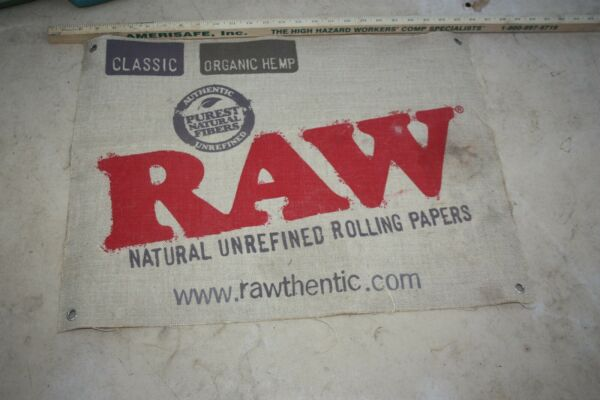 Classic Hemp RAW rolling paper advertising hanging sign on burlap 24 by 18