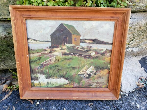 VINTAGE OIL PAINTING FISHING BOAT WATER COLLECTIBLE ARTIST SIGNED JOHN F MCCOY