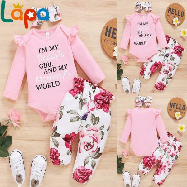 LAPA Newborn Baby Girls Romper Tops Floral Pants Headband Clothes Outfits Set US