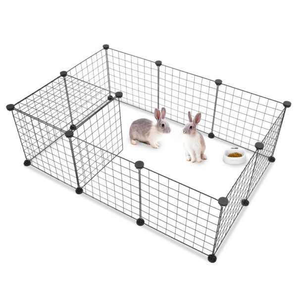 Portable 14quot;Metal Dog Pet Playpen Crate Animal Fence Exercise Cage W Door 12 Pcs $29.99