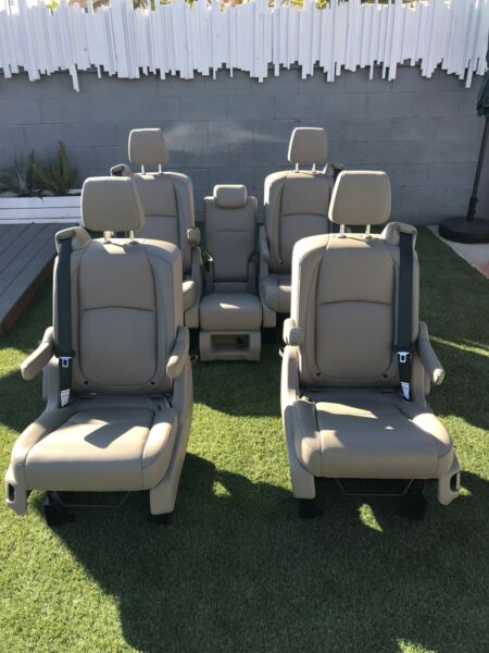 Set of 5 Bucket Seats W Mounting brackets Tan Leather Sprinter van conversion $2399.00
