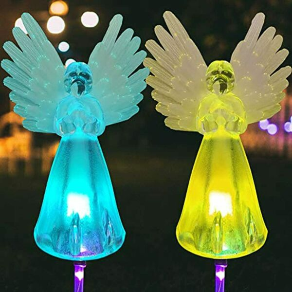 Angel Outdoor In Ground Lights 2pcs Solar Lawn Prince Light Energy Garden Pile $37.60