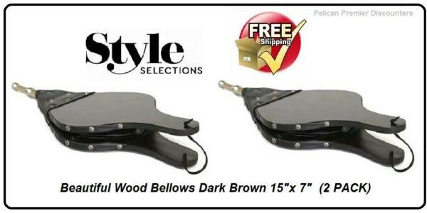 Fireplace Blowers Wood Bellows Dark Brown 15quot;x 7quot; Camping Fire Air Fan 2 PACK